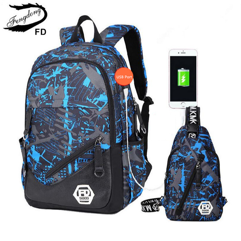 FengDong blue External USB Charge men travel Backpack Male Laptop bag 15.6 college bags high school backpacks for boys rucksack japan smc original genuine source of gas source processor ad402 04 end of the automatic drain water separator