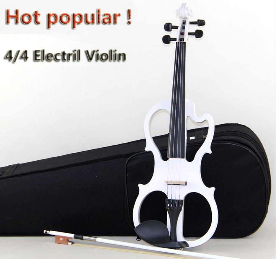 High quality, Black 4/4 violin Send violin Hard case, Handmade white electric violin with power lines and violin parts 1 piece distribution instrument case housing high quality black and white color 69x149x140 mm surface with vents