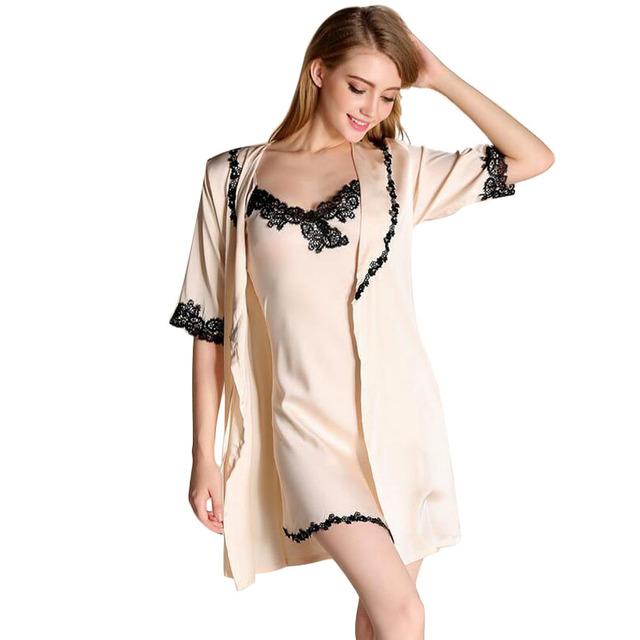 Bata Bata Camisón de Dormir de Las Mujeres Bata Bata bata Bata Camisón Pijama Feminino Conjuntos Camison Sexy Mujer Albornoz