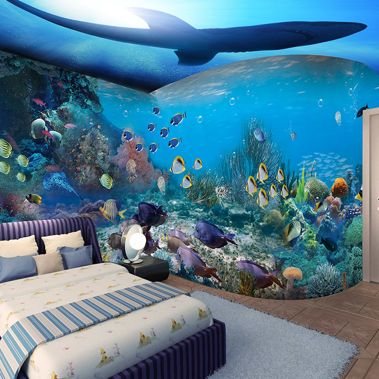 3d papel parede Fish Coral Sea World Dolphin Wall paper 3d photo Mural wallpaper for Kid Child RoomSofa Background Decor 4styles large photo wallpaper bridge over sea blue sky 3d room modern wall paper for walls 3d livingroom mural rolls papel de parede