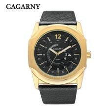 CAGARNY nuevo negocio de los hombres casual watch calendario movimiento automático Esfera de Oro de Acero Inoxidable Reloj de Cuarzo Relogio masculino