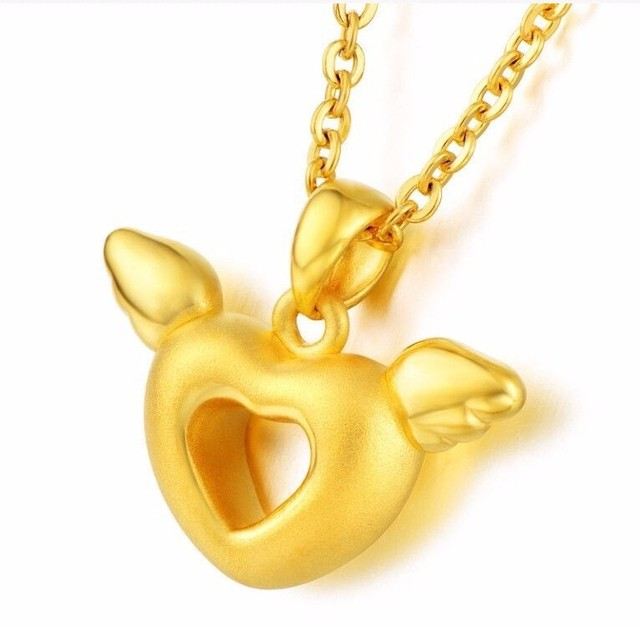 Pure 24k Yellow Gold Pendant/ 3D Craved Bless Angel Heart Pendant/ 1.66g  New