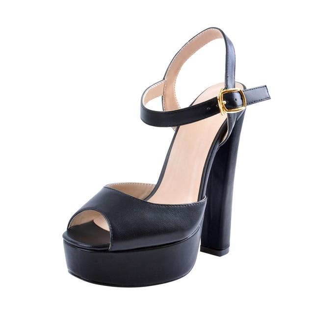 Onlymaker damski pasek na kostkę Peep Toe platforma czarny kolor Chuncky sandały na wysokim obcasie pompy Squre Toe Party Dress obuwie