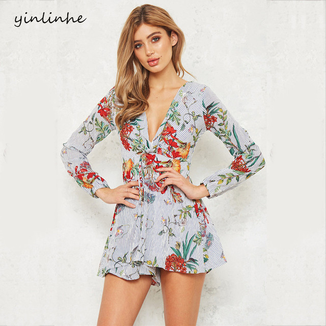 yinlinhe New Floral Playsuit Women Long Sleeve V neck Sexy Short Jumpsuit women rompers Loose Pants Elegant overalls        262 2