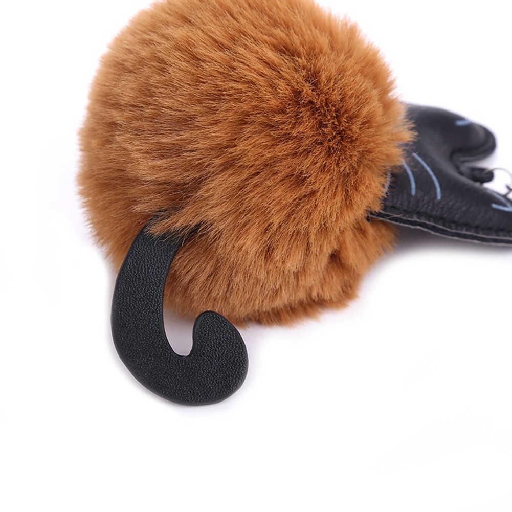Artificial Pele De Gato Fofo Saco Anel Chave Chaveiro Moda Jóias Pendurar Acessórios
