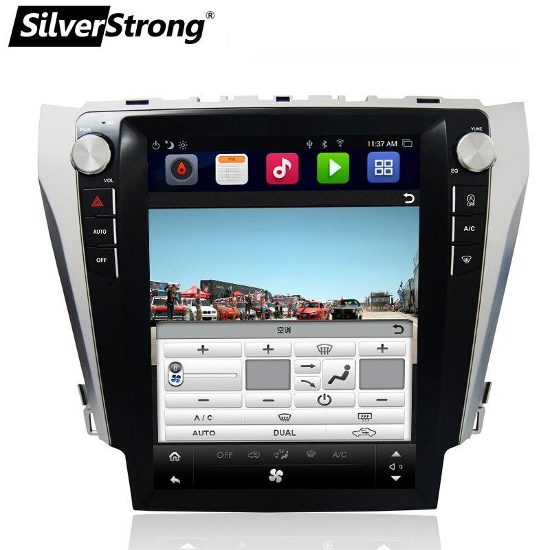 SilverStrong 12.1 ''IPS Écran Android7.1 32 gb Tesla Écran Voiture GPS Pour Toyota Camry 2012-2015 soutien JBL amp AC climatique