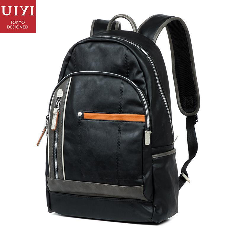 ФОТО UIYI brand Men Fashion PU Leather Black Backpack Laptop Trendy Luxury Student Travel Bag Teenagers Casual Bags For Men 150079