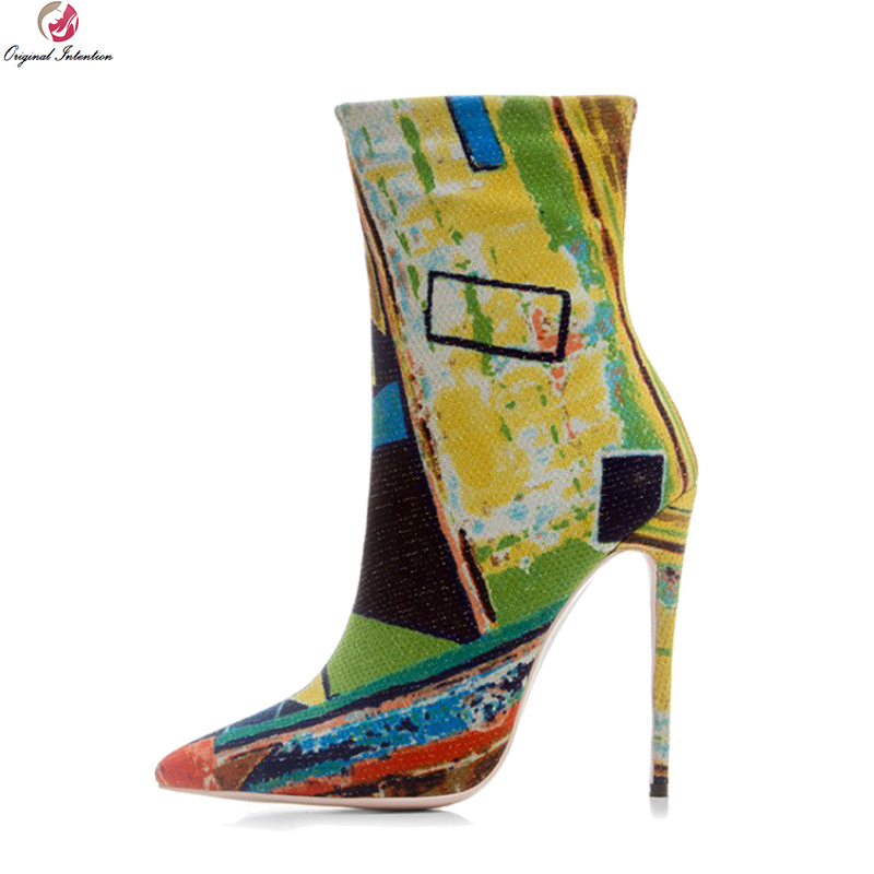 Original Intention New Fashion Women Ankle Boots Pointed Toe Thin Heels Boots Stylish Multi Colors Shoes