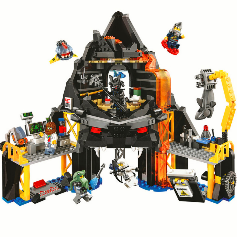 BELA Ninjagoed Garmadons Volcano Lair Building Blocks Sets Bricks Classic Shark Movie Kids Toys Model Marvel Compatible Legoings 588pcs bricks diy ninjagoed movie building blocks compatible legoingly shark ninjagoed mini action figures blocks children toys