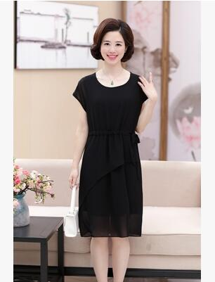 6278550e9bac 2018 new mother dress 40 50 year old middle aged women s summer loose big  yards short sleeve chiffon dress-in Dresses from Women s Clothing on ...