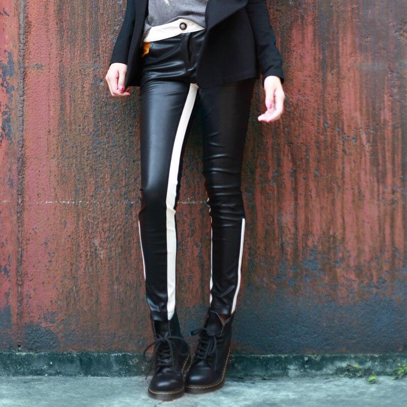 ¡S 5xl! Moda Mujer Pantalones elásticos Color bloque cuero Delgado pantalones lápiz Casual cremallera apretado cantante disfraces ropa - 2
