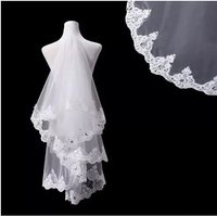 In Stock White And Ivory Pencil Edge one Layer Tulle Simple Wedding Bridal Veil Wedding Veil with Free Comb