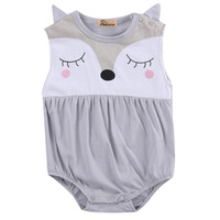 Newborn Infant Baby Boy Girls Cute Fox Cartoon Clothes Cotton Sleeveless O Neck Bodysuit Outfits