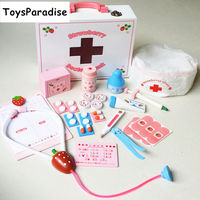 Dropshipping Pink Strawberry Simulation Medical Box/Doctor Toy Pretend Play Wooden Toys For Kids Nurse Educational Girls Gift