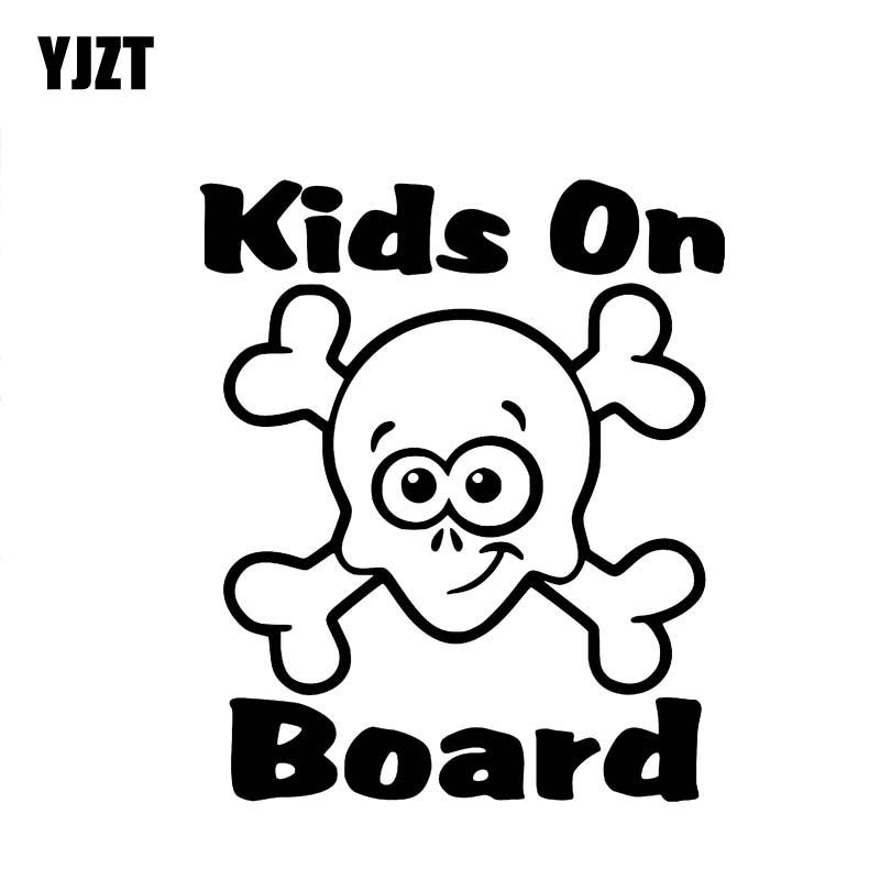 YJZT 12.7CM*14.9CM Kids On Board Sticker Car Decals Vinyl Skull Bones Black/Silver C10-00731
