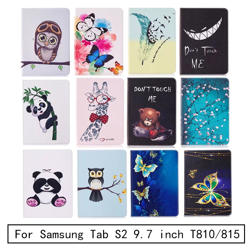 Tab S2 SM-T810/813/815/819 Panda owl Pattern Case PU Leather Stand Cover For Samsung Galaxy Tab S2 9.7 Tablet Case T810 T815 360 rotary flip open pu case w stand for 10 5 samsung galaxy tab s t805 white