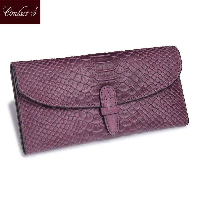 2016 Fashion Snake Print Leather Clutch Wallet Folded Genuine Wallets Women's Cowhide Long Purple