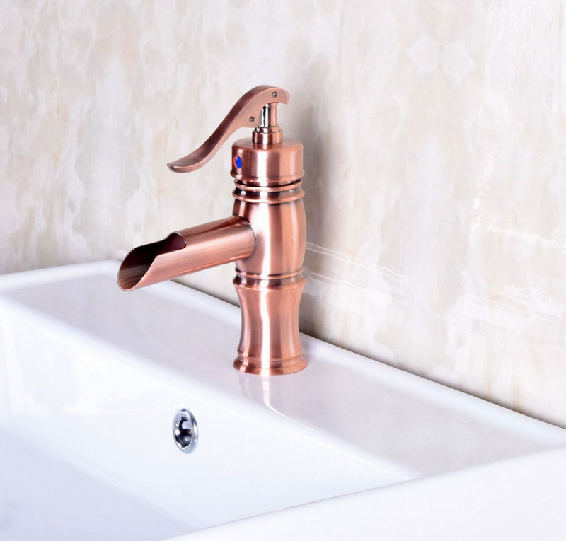 Vintage Retro Antique Red Copper Bathroom Waterfall Faucet Mixer Water Tap Single Handle Lever Bamboo Tap  anf244Vintage Retro Antique Red Copper Bathroom Waterfall Faucet Mixer Water Tap Single Handle Lever Bamboo Tap  anf244