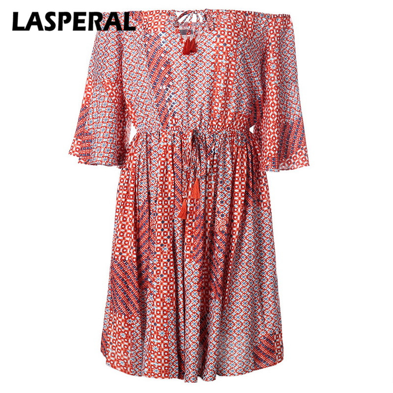 LASPERAL Women Vintage Dress Sexy Slash Neck Off Shoulder Drapped Mini Dress Female Flare Sleeve Print Swing Party Dress Vestido