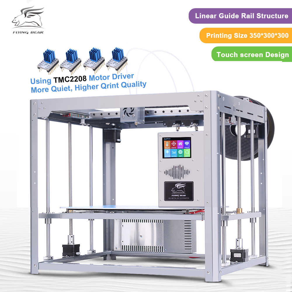 Free shipping Flyingbear Tornado large 3d Printer DIY Full metal Linear rail 3d printer High Quality