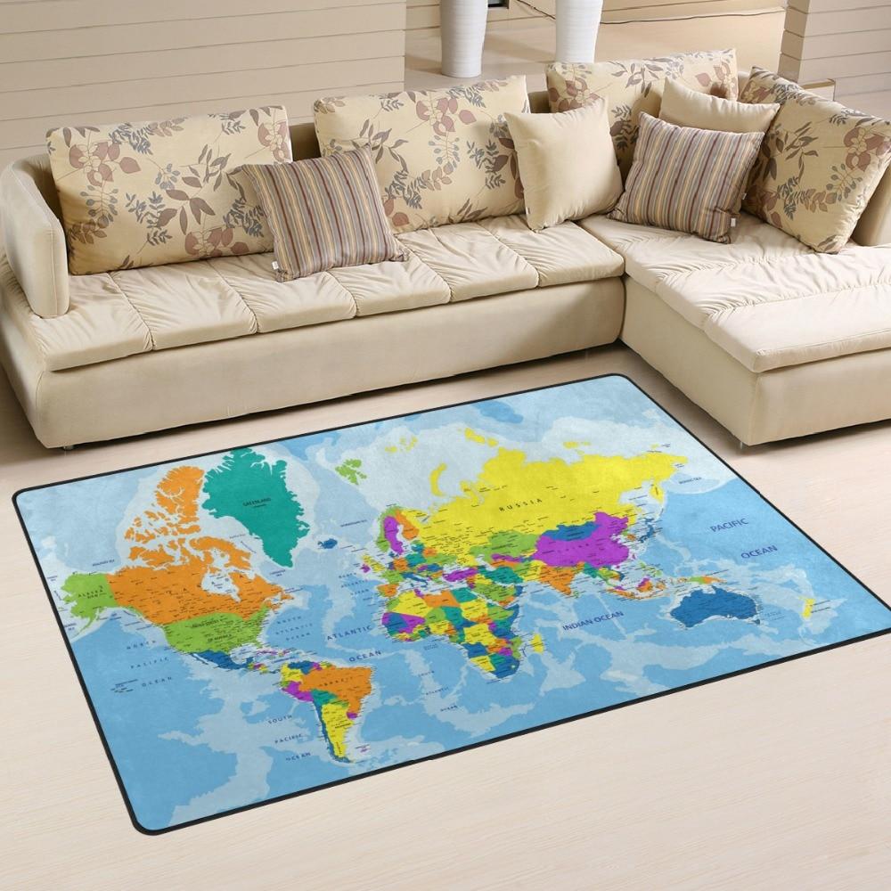 Soft Modern Highly Detailed World Map Area Rugs Living Room Carpet Bedroom Rug For Children Play Solid Home Decor Floor Mat