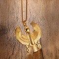 Homens Colares de Ouro Placa Falcon Segurando Pingente Ankh Egípcio Horus Voando Pássaro Moda Traje Hip Hop Jóias Vintage Gargantilha