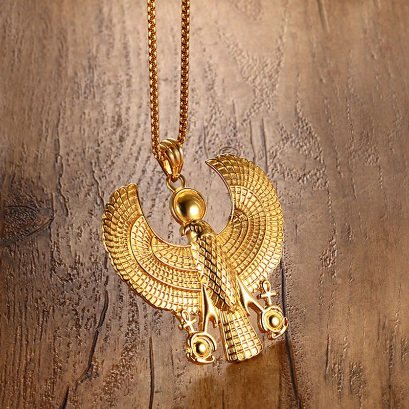 Men Necklaces Egyptian Horus Bird Falcon Holding Ankh Pendant Gold Color Steel Fashion Hiphop Costume Jewelry Choker 24