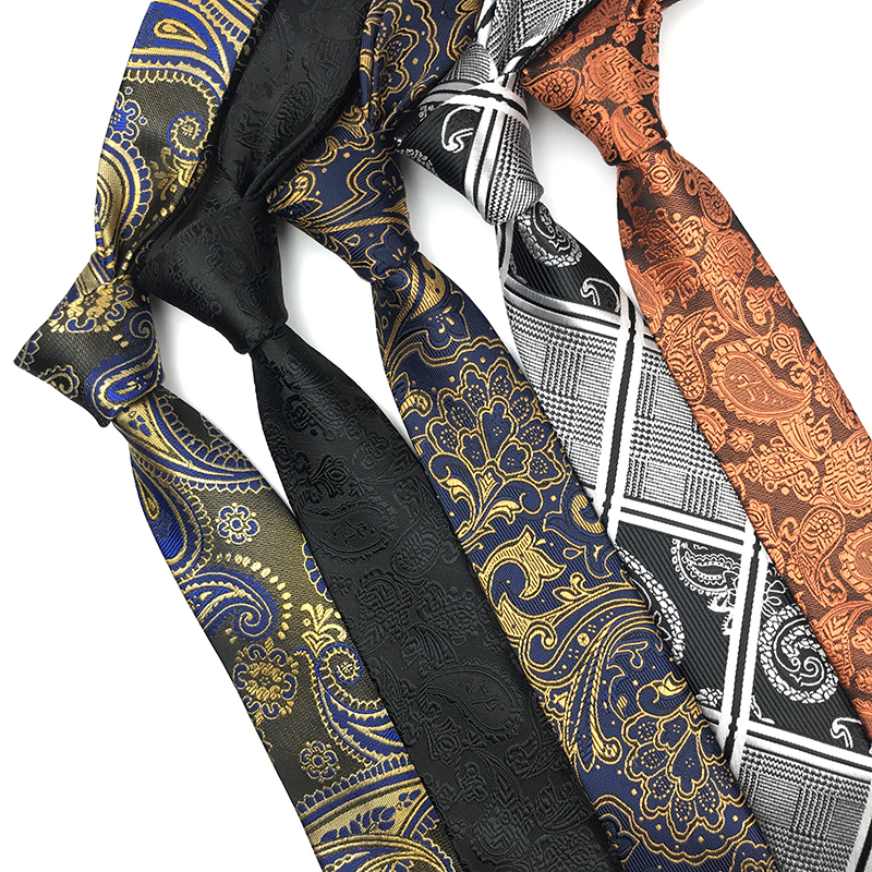 100% Polyester Jacquard Woven Slim Mens Necktie Tie Paisley Plaid Striped Dots High Quality  Classical Fashion Tie For Men 6.0cm
