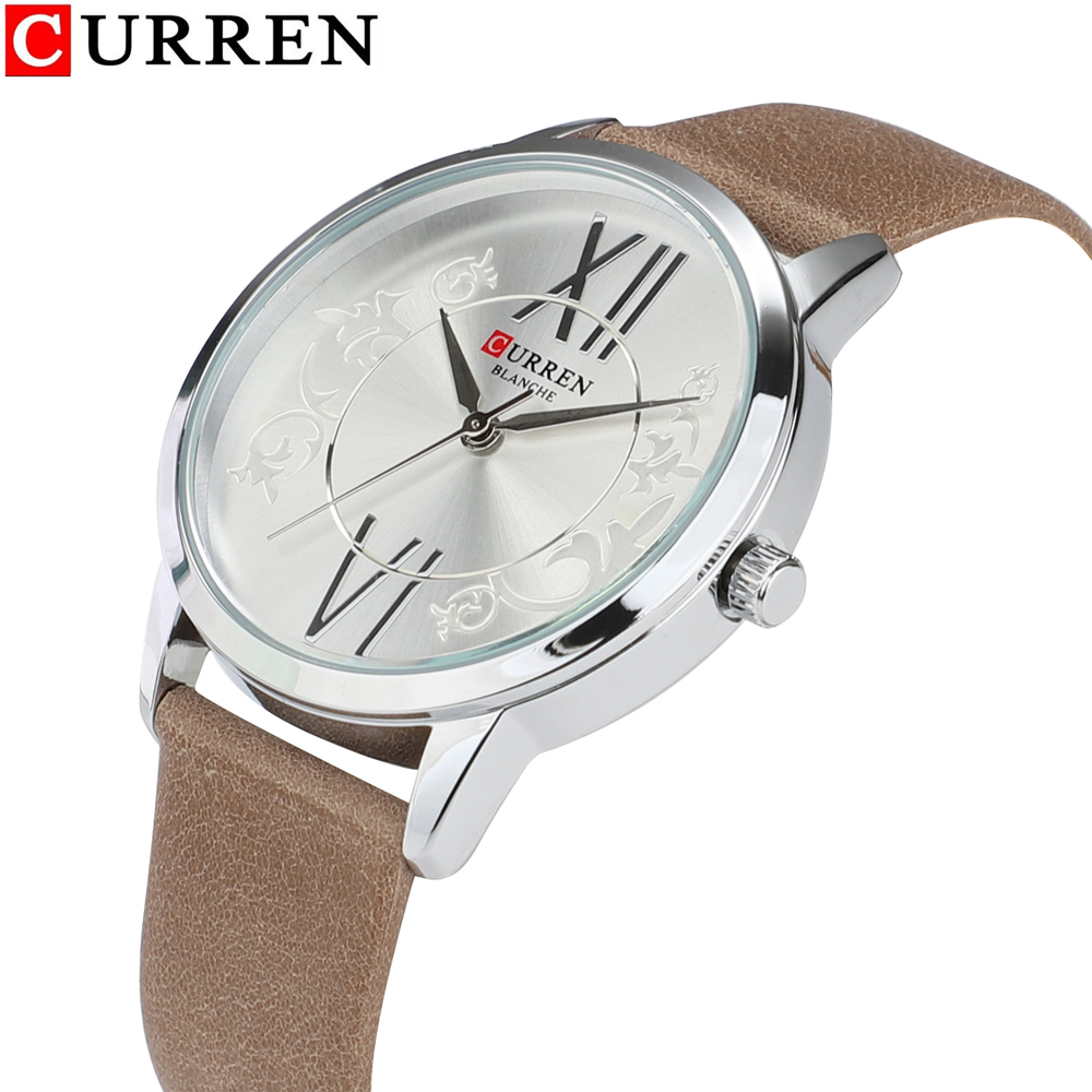 Luxury <font><b>Curren</b></font> Women Fashion Quartz Watch Lady Vogue Leather Watchband High Quality Casual Waterproof Wristwatch Women's gifts image