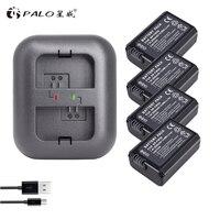 PALO 4Pcs 2000mAh NP FW50 NP FW50 Battery AKKU+Dual Charger for Sony Alpha a6500 a6300 a7 7R a7R a7R II a7II NEX 3 NEX 3N NEX 5