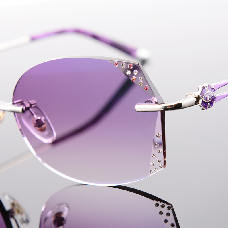 Myopie 1 1 528061 Lenses Lesen Legierung Mit Lenses Linsen Sonnenbrille golden Getönt Lenses Lenses Randlose Gläser 61 Rezept Farbe Brillen pink purple 67 Golden Frauen q6qBX
