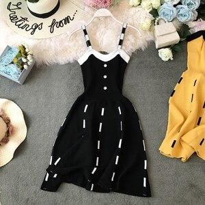 Image 2 - ALPHALMODA ถักกระโปรงชุดเดียว Breasted สูงเอว Slim เอว A   Line แบบสั้นฤดูร้อนถัก Sundress สำหรับสตรี 2019