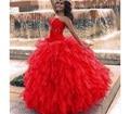 Decote em coração de Organza Plissado Quinceanera Vestidos de Cinderela Vestido Vermelho para Sweet 16 Vestidos de Baile