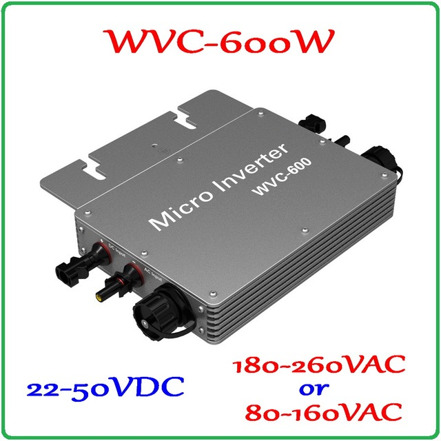600W Grid Tie Inverter with 6-grade MPPT Function, 22-50VDC to 80-160VAC or 180-260VAC  Micro Grid Tie Power Inverter 600W IP65