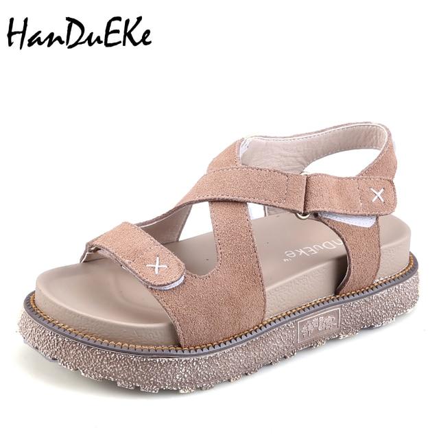1f98bce19273d Handueke Cruz-Correa mujeres sandalia Cuero auténtico verano Zapatos alta  calidad señora plataforma plana Sandalias