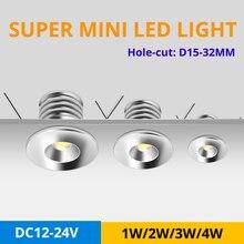 12pcs/lot Super Mini LED Spot Light High Quality 1W 2W 3W 4W DC12V 24V Recessed LED Ceiling Lamps