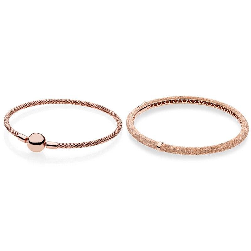 2 Style 925 Bracelets en argent Sterling breloques couleur or Rose Bracelets pour femme ajustement bricolage perles breloque