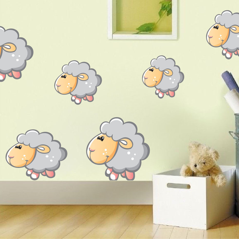 Cartoon Kids Sheep Full Color Wall Stickers For Kids Rooms Wall Decor Removable Wall Art Decals Wallpaper Poster Home Decoration