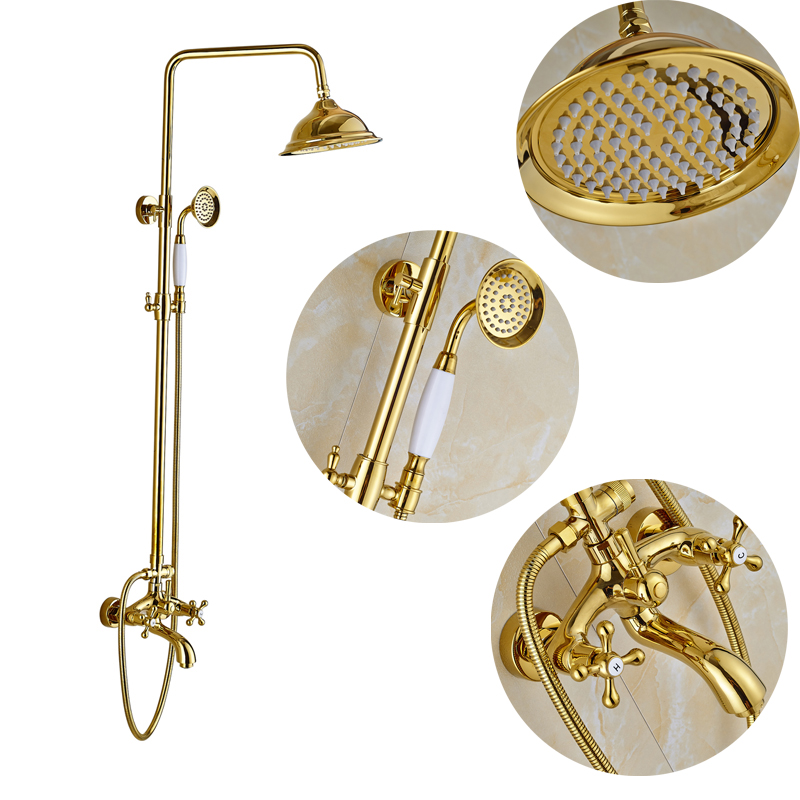 Golden Color Bathroom Shower Faucet 8 Rainfall Shower Head with Handheld Shower