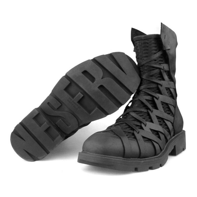 Hoge Top Punk Schoenen Mannen Enkel Luxe Trainers Echt Leer Mesh Patchwork Terug Zip Motorlaarzen Casual Hip Hop sneakers - 5