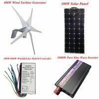 400W 5 Blades 12V 24V Wind Turbine Generator Wind And Solar Hybrid Controller 100W Solar Panel
