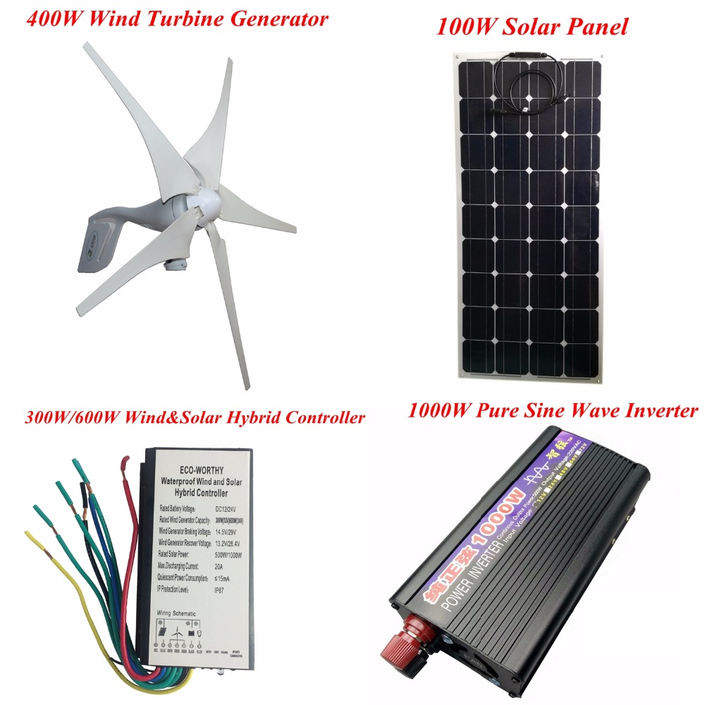 400W 5 Blades 12V/24V Wind Turbine Generator+Wind and Solar Hybrid Controller+100W Solar Panel+12V-220V 1000W Pure Sine Inverter 600w wind solar hybrid controller 400w wind turbine 200w solar panel charge controller 12v 24v auto with big lcd display