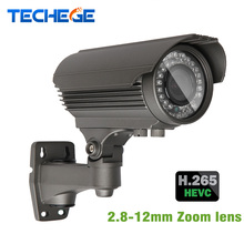 H.265 4.0MP 48 V Varifocal 2.8-12mm Lente Onvif P2P Hi3516D dinámico amplio Nocturna Por INFRARROJOS Cámara IP POE Power Over Ethernet Xmeye App Cam