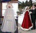 Capa de noiva Do Casamento Do Marfim Cloaks Encapuçado com Guarnição da Pele Do Falso calças de Comprimento no tornozelo Vermelho Branco Perfeito Para O Inverno Longo Wraps Jacket WC23