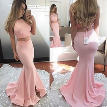 SuperKimJo Robe De Soiree Pink Evening Dresses 2019 Long Mermaid Satin Sexy Women Formal Two Piece Prom
