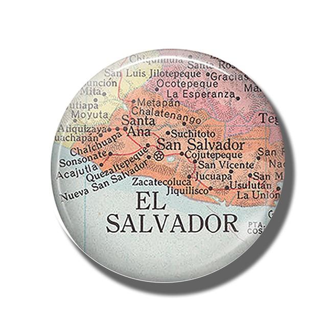 Republik El Salvador Peta 30 Mm Magnet Kulkas San Salvador Peta Kubah Kaca Magnet Kulkas Stiker Catatan Pemegang Rumah dekorasi