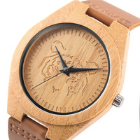 Classic Southeast Asian Style Carving Tiger Design Bamboo Watch Cool Men Women Wood Leather Wristwatches Fashion