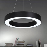 Simple Round Iron Pendant Lighting Ring Modern Personality Creative Living Room Restaurant Office LED Hanging Lights