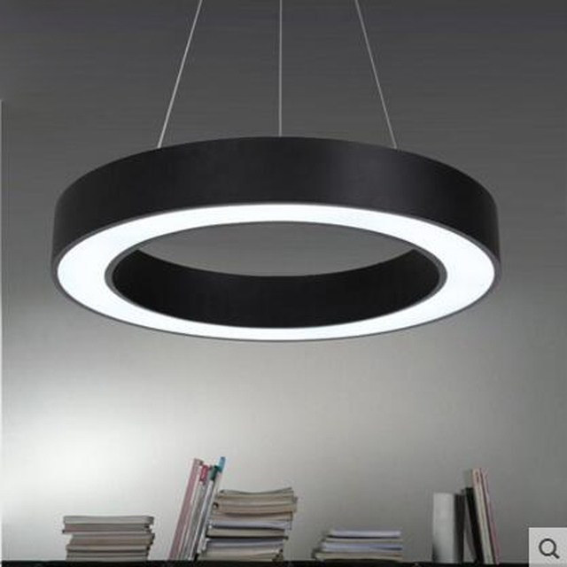 Simple Round Iron Pendant Lighting Ring Modern Personality Creative Living Room Restaurant Office Led Hanging Lights Lamps