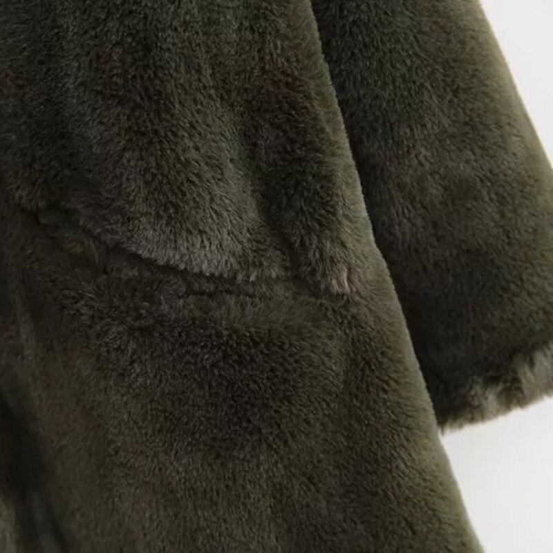 Femmes de fourrure de lapin manteau D'hiver vert faux manteau de fourrure femmes Chaud en peluche manteau à manches longues épaisse fourrure veste long manteau outwear 2019 - 5